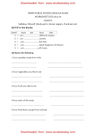 cbse class 2 evs practice worksheets 30 myself body parts