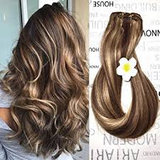 fine hair ombre amazon com clip in human hair extensions medium brown 4 27