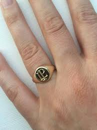 layered initial signet ring