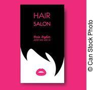 vector clip art of hair salon business card templates withl woman