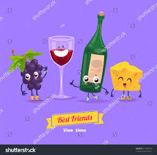 cartoon wine and cheese healthy breakfast funny characters grape cheese stock vector