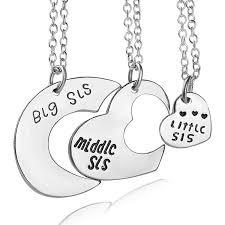charm drop necklace images Sis middle sis little sis love heart charm pendant necklace set jpg