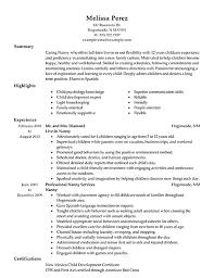 Sample Of Caregiver Resume by Download Sample Nanny Resume Haadyaooverbayresort Com