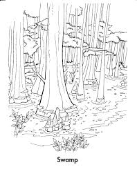 forest habitat coloring pages within swamp eson me