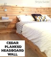 cedar planked headboard wall in guest room simply swider