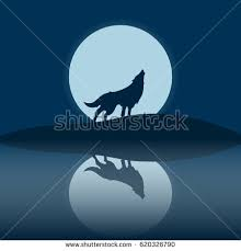 wolf howling moon stock vector 620326790