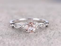 0 5 carat round morganite engagement ring diamond promise ring 14k