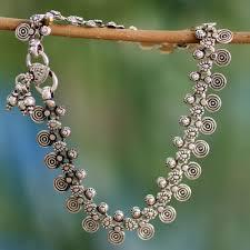 sterling silver charm anklet indian jewelry jaipur dancer novica