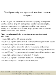 Medical Billing Job Description For Resume by Top 8 Property Management Assistant Resume Samples 1 638 Jpg Cb U003d1431471265