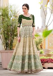 party wear gowns for women buy online green pure silk gown for girls