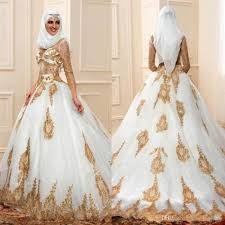 discount modern muslim wedding dresses 3 4 sleeves with gold