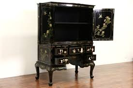 Antique Bar Cabinet Furniture Sold Chinese Black Lacquer Painting Jade And Stone Vintage Bar