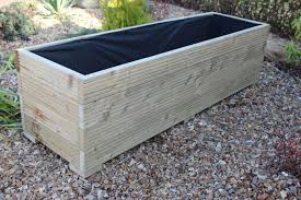 large wide wooden garden planter trough 150cm length free lining