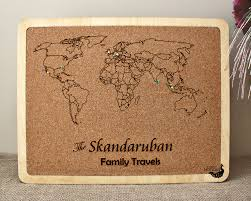 Cork World Map by Family Travel Map Laser Engraved Travel Map Push Pin Cork