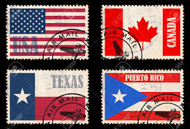 Cuba And Puerto Rico Flag Set Of Stamps With Flags From The North America Usa Texas