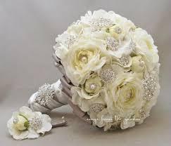 wedding flowers groom brooches blooms bridal bouquet silk flower wedding white grey