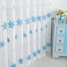 sheer curtains white snowflake pattern embroidery