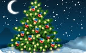 red baubles with blue bows in the christmas tree wallpaper
