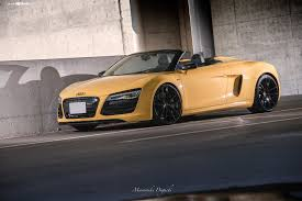 audi modified modified yellow convetible audi r8 with contrasting black accents