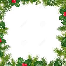 borders with snowflakes and holly berry illustration royalty free