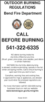 burning regulations and permits city of bend