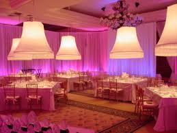 Chiffon Ceiling Draping Off White Chiffon Ballroom Drape With Pink And Purple Led Uplights