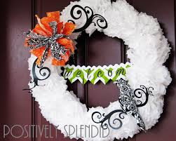 tissue paper pom pom halloween wreath tutorial positively