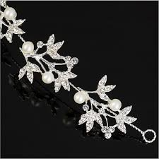 pearl rhinestone leave shape headpiece bridal hair ornaments