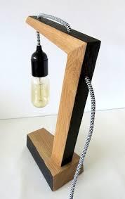 wooden handmade vintshop hexagon design table lamp with edison