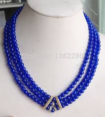 round bead necklace images New fashion 3row 6mm blue round beads chalcedony necklace 17 jpg
