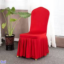 Spandex Banquet Chair Covers Spandex Chair Cover With Skirt All Around Red Colour Ruffled Lycra