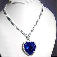 white gold crystal necklace images Sapphire blue heart of the ocean titanic necklace pendant with jpg
