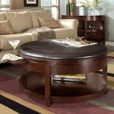 coffee table brown round leather ottoman coffee table round