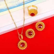red gold jewelry necklace images Red blue green stone ethiopian gold jewelry sets earrings pendant jpg