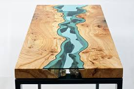 unique wood unique wooden tables embedded with glass rivers and lakes by