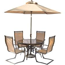 Cheap Patio Dining Set With Umbrella - monaco 5 piece outdoor dining set with c spring chairs glass top