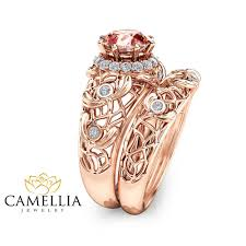 gold art rings images Peach pink morganite engagement ring set unique morganite wedding jpg