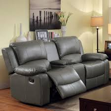 clay alder home gerald grey bonded leather reclining loveseat with