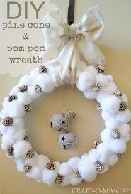 diy pine cone and pom pom wreath craft o maniac