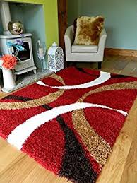 red brown cream shaggy rugs new small large thick 5cm pile height