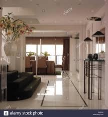 marble floors in open plan nineties penthouse apartment stock