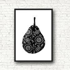 affiche poster noir et blanc graphique cuisine poire fruits format