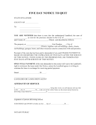 illinois 5 day notice to quit form non payment of rent eforms
