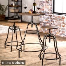 industrial style pub table shop for furniture of america gorgia 3 piece industrial bar dining