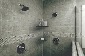 nickel bath accessories in gray shower