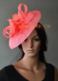 hair accessories melbourne new coral big fascinator sinamay hat w feather flower for kentucky