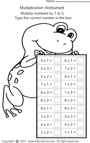 multiplication worksheets grade 1 multiply numbers by 1 to 3 numbers and math