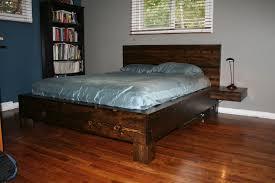 furniture rustic bed design with diy platform and floating for