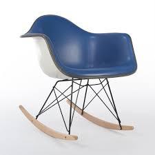 herman miller original eames upholstered blue armchair on rar base