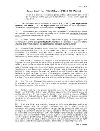 Financial Warranty Letter 18 tender for clinical lab equipment